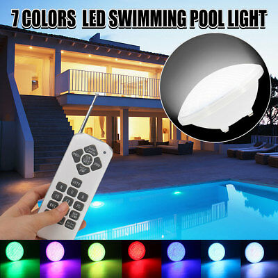 AU 7 Color 12V 252 LED RGB Underwater Swimming Pool Bright Light +Remote Control