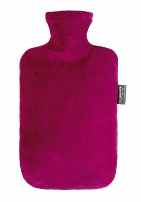 Fashy - Wärmflasche Nicki-Velour Bezug Rot Bordeaux (6712-42) Bettflasche Nicki