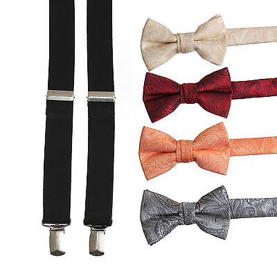 NEW! Kids and Adult Suspender and Bow Tie Set Vintage Paisley w/ Black Suspender