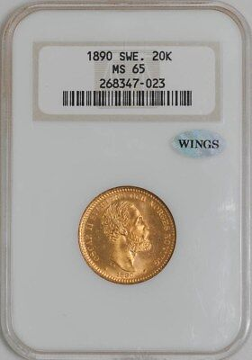 1890 Sweden 20K MS65 NGC ~ WINGS