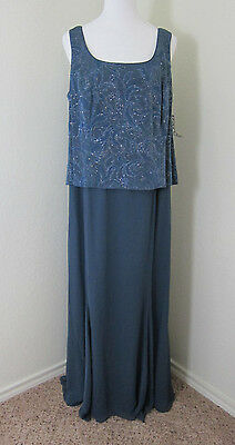 ALEX EVENINGS 18W Maxi Dress Blue Sleeveless Wedding NWT