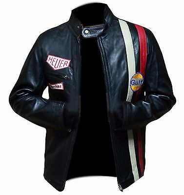 Steve McQueen Le Mans Driver Grandprix Gulf Red and White Straps Leather Jacket