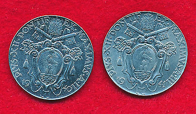 Vatican City 1940 & 1941 2 LIRE (2 Coins)  Stainless Steel