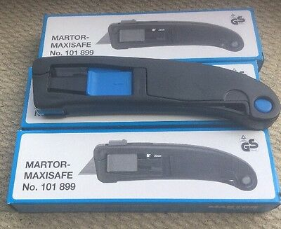 3 NEW Martor Maxisafe No 101899 Box Cutter Utility Safety Knife SOLINGEN Germany