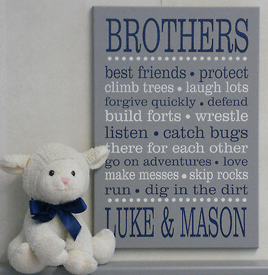 Brother Decor Wall Art Sign, Navy Boys Bedroom Quotes, PERSONALIZED with Names