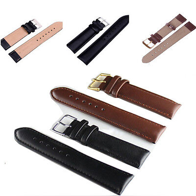 GOOD Quality Unisex Genuine Leather Black Brown Watch Strap Band Womens Mens