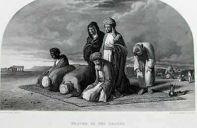 Muslims praying to Mecca in desert Islam Mohammed c.1860 old antique view