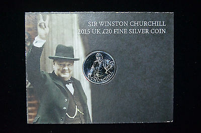 2015 Great Britain Royal Mint, £20 Winston Churchill 1/2 Ozt .999 Silver Coin