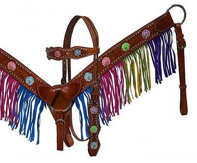 Showman leather headstall and breast collar set with multi colored fringe! Tack