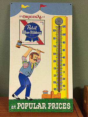 "Vintage Pabst Blue Ribbon Beer Gas Oil 18"" Metal Thermometer Sign~Works"