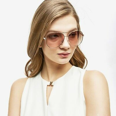 Aviator Sunglasses Vintage Light Brown Lens Women Fashion Frame Retro Pilot New