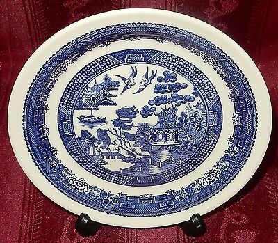 CROWN LYNN Blue & White WILLOW PATTERN Sandwich Side or Cake Plate New Zealand