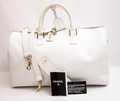 4d2581b91a44 Authentic Chanel Two Way Duffle Bag w Shoulder Strap Lock Keys Card White  Travel