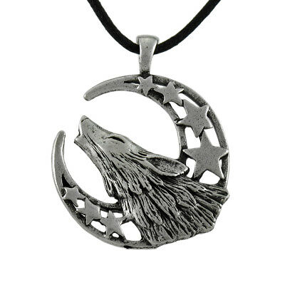 Howling Moon Celestial Pewter Wolf Pendant on Slider Cord Necklace