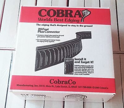 Cobra Lawn Edging Border Edge Black 20' Feet + Connector Yard Garden Flower Bed