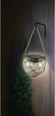 Solar Powered White LED Hanging Glass Buoy Lights with 1 Rechargeable Battery
