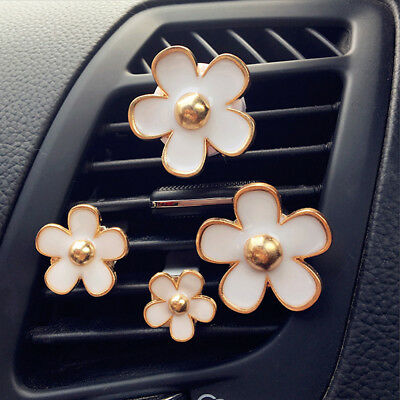 4Pcs Car Air Vent Perfume Solid Fragrance Air Freshener Flower with Clip Lovely