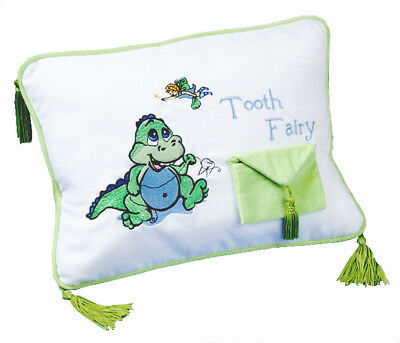 Dinosaur Tooth Fairy Keepsake Pillow Embroidered Pocket Boy Girl Gift