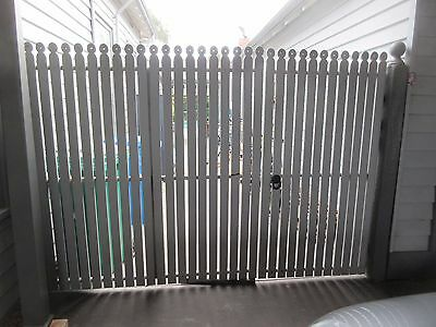 GATES - TIMBER PICKET WITH FEATURE 'HOLEY' TOP, METAL FRAME, PAINTED GREY  ,3s