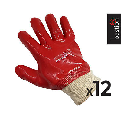 PVC Red Gloves 27cm Knitted Wrist Pack of 12 pairs
