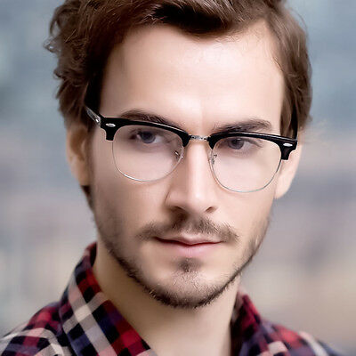 MENS LARGE Fashion Club Style Glasses Clear Lens Half Frame Retro Nerd NEW