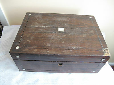 Victorian Mahogany Sewing/jewellery Box With Mother Of Pearl Inlay #4