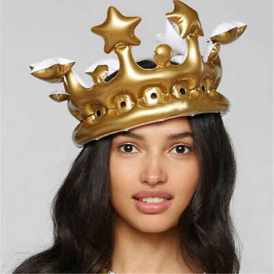 Inflatable Gold Crown King Queen The Day Costume Halloween Birthday Hen Party
