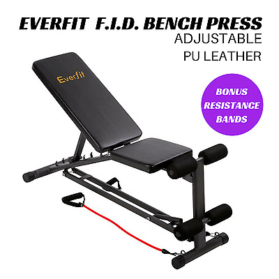 Adjustable Fitness Bench Press Gym Home Workout FID Resistance Bands Muscle Abs