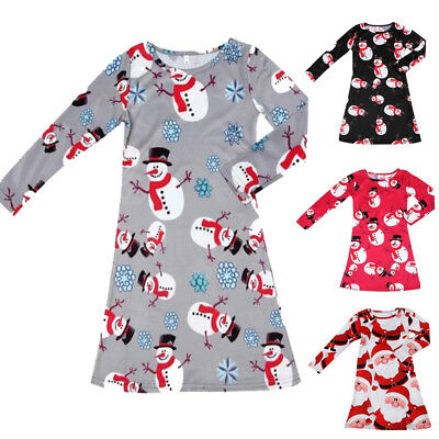 Autumn Kids Baby Gils Christmas Party Xmas Long Sleeve Swing Party Dress 1-10Y