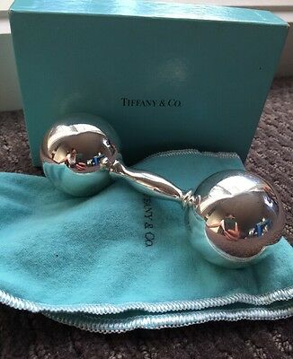 Tiffany And & Co Barbel Baby Rattle 925 Stirling Silver Pick Up Hampton Vic