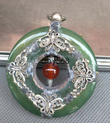 China Exquisite Collection Tibet Silver Inlaid Jade pendant carved butterfly