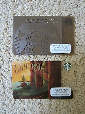 LOT OF 2 NEW Starbucks CALIFORNIA & LOGO Gift CardS no value COLLECTABLES