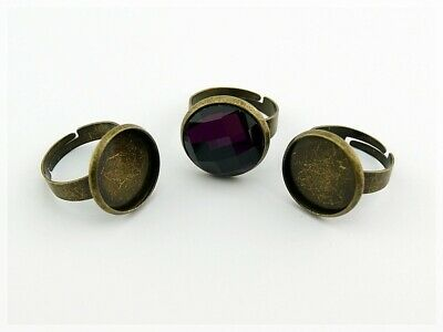4 Ringrohlinge in antik Bronze für 16 mm Cabochon
