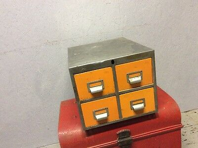 Orange 4 Drawer Mid Century Filing Cabinet Industrial Vintage Retro Steel