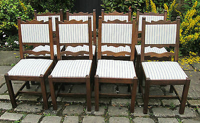SET OF EIGHT 8 Antique country style upholstered oak 8 Dining chairs