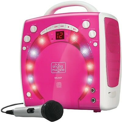 Kids Pink Karaoke Party Singing Machine Girls Portable Disco Lights With 3x CDGs