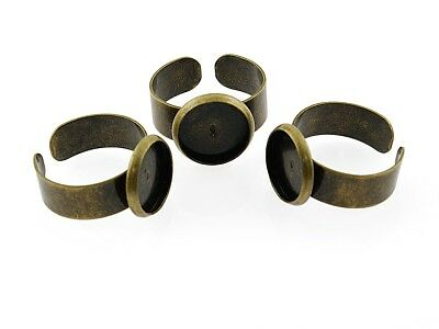4 Ringrohlinge in antik Bronze für 12 mm Cabochon