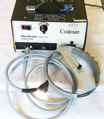 Codman Surgical MicroSystem Twin Beam Lightsource W/ Helmet Fiber Optic Cable