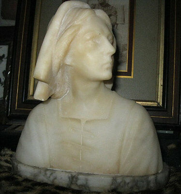 Antique~Ca.1825 FRENCH~Joan of Arc~Woman's~Solid MARBLE~Bust~FACE~Figure~RARE~
