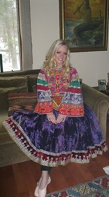 RARE~Vintage~KUCHI~Tribal~WEDDING~Dress~PURPLE~Velvet~INTRICATE~Hand~EMB~Gypsy~M
