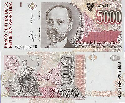 Argentina 5000 Australes Banknote,(1989-91) Uncirculated Condition Cat#330-D-961