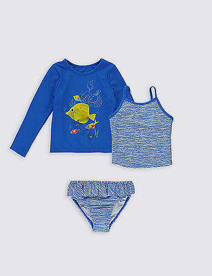 M&s Blue 3 Piece Baby Girls Bikini Outfit Age 18-24 Mths Upf 40+ Protection Bnwt