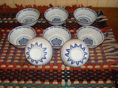 Chinese Mid-Century OMC Rice/soup Bowls Set Of 8 Rice Eyes Porcelain Blue
