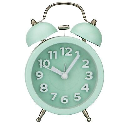 Bedside Table Alarm Clock Mini Non ticking Vintage Classic with Backlight Green