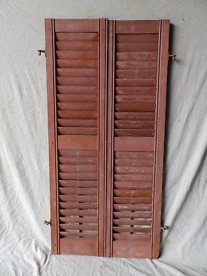Pair Antique Window Wood Louvered Shutters Shabby Old Chic Vintage 52X12 377-17P