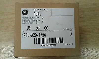 New 194L-A20-1754 A-B Allen Bradley isolator/disconnect/on-off switch 20A 4 pole