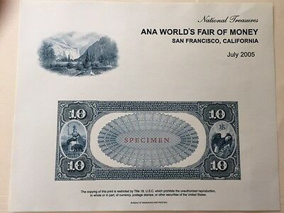 B277 San Fran, CA BEP Souvenir Card $10 National Currency with info card