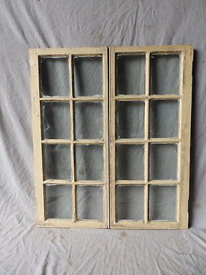 Antique Pair Casement Glass Cabinet Cupboard Pantry Door Window 35x15 382-17P