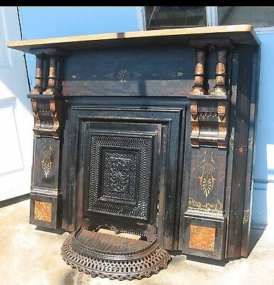 Old Vintage Cast Iron Painted Aesthetic Movement Fireplace Mantle