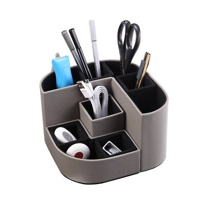 Desk Organizer 7 Storage Compartments Multifunctional PU Leather Grey